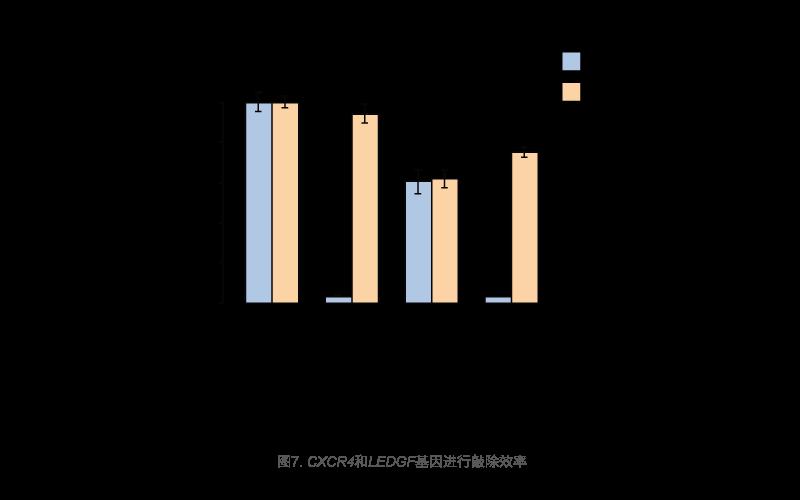 CXCR4和LEDGF基因进行敲除效率